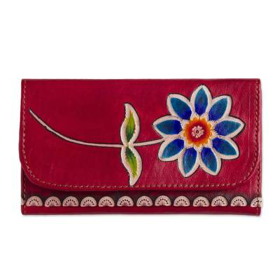 Red Leather Tri-Fold Wallet with Hand Painted Blue Flower
