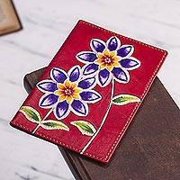 Leather passport cover, 'Lovely Traveler in Red' - Red Leather Passport Cover with Hand Painted Flowers