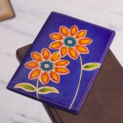 Leather passport wallet, 'Lovely Traveler in Blue' - Blue Leather Passport Cover with Hand Painted Flowers