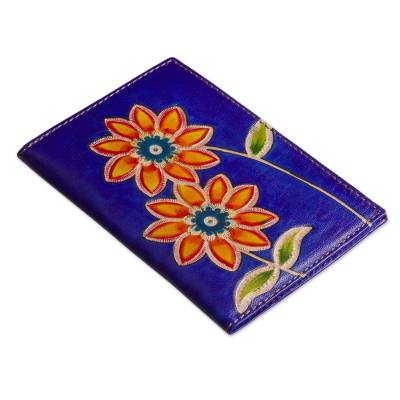 Blue Leather Passport Cover with Hand Painted Flowers
