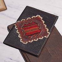 Leather passport cover, 'Inca Traveler' - Dark Brown Leather Passport Cover with Incan Cross Design