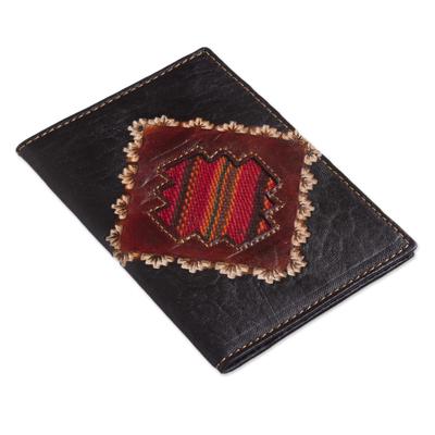 Leather passport cover, 'Inca Traveler' - Dark Brown Leather Passport Cover with Incan Cross Design