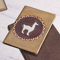 Leather passport cover, 'Andean Traveler'