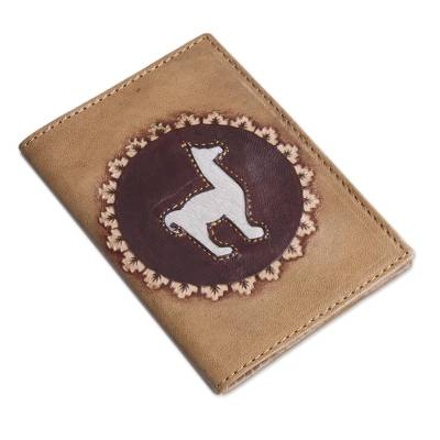 Leather passport cover, 'Andean Traveler' - Tan Leather Passport Cover with Llama Design