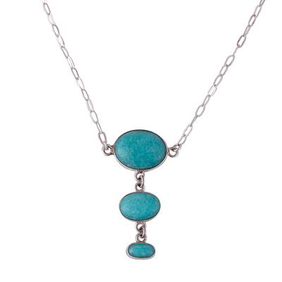 Amazonite and Sterling Silver Pendant Necklace from Mexico