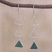 Chrysocolla dangle earrings, 'Green Triad' - Peruvian Sterling Silver and Chrysocolla Dangle Earrings
