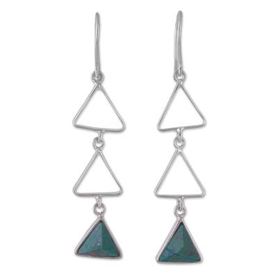 Peruvian Sterling Silver and Chrysocolla Dangle Earrings