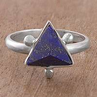 Lapis lazuli cocktail ring, 'Blue Pyramid' - Sterling Silver and Lapis Lazuli Cocktail Ring from Peru