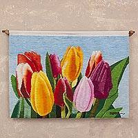 Wool tapestry, 'Enchanted Tulips' - 100% Wool Multi-Color Tulip Tapestry