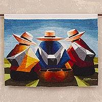 Wool tapestry, 'Women's Conversation' - 100% Wool Multi-Color Andean Trio Tapestry