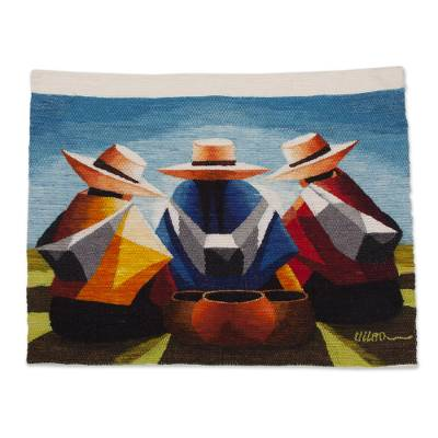 100% Wool Multi-Color Andean Trio Tapestry