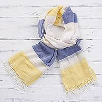 Pima cotton scarf, 'Afternoon Cheer in Yellow' - 100% Pima Cotton Blue White and Yellow Striped Scarf