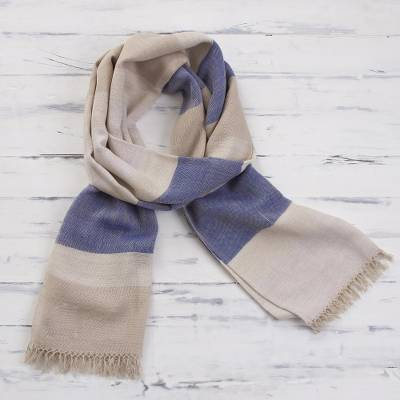 Pima cotton scarf, 'Afternoon Cheer in Beige' - 100% Pima Cotton Blue and Light Brown Striped Scarf