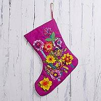 Applique Christmas stocking, 'Fuchsia Summer Holiday' - Handcrafted Floral Applique Christmas Stocking in Fuchsia