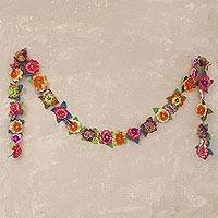 Applique garland, 'Holiday Blossoms' - Handcrafted Holiday Applique Floral Garland with Butterflies