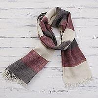 100% alpaca scarf, 'Favorite Cabernet' - 100% Alpaca Wool Dark Red Off White and Black Striped Scarf