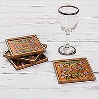 Reverse painted glass coasters, 'Floral Gold' (set of 4) - Reverse Painted Glass Floral Coasters (Set of 4) from Peru