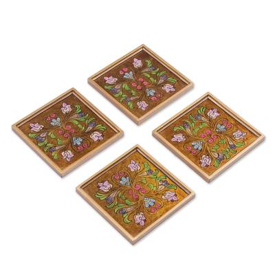 Reverse Painted Glass Floral Coasters (Set of 4) from Peru