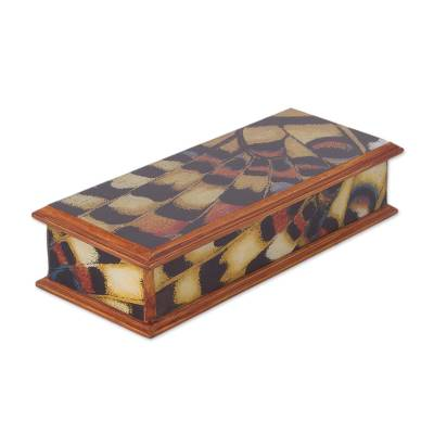Reverse-painted glass decorative box, 'Butterfly Dream' - Reverse-Painted Glass Decorative Box from Peru