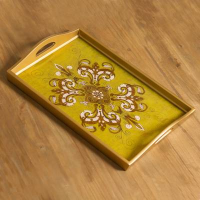 Reverse painted glass tray, 'Regal Petals' - Gold-Tone Floral Reverse Painted Glass Tray from Peru