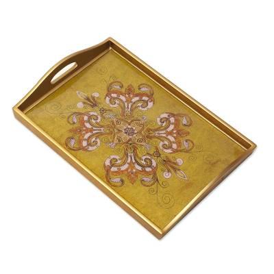 Gold-Tone Floral Reverse Painted Glass Tray from Peru