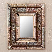 Reverse painted glass mirror, 'Colonial Charm' - Floral Reverse Painted Glass Wall Mirror from Peru