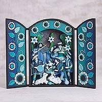 Wood and plaster retablo, 'Twilight Nativity' - Blue Wood and Plaster Andean Nativity Retablo with Musicians