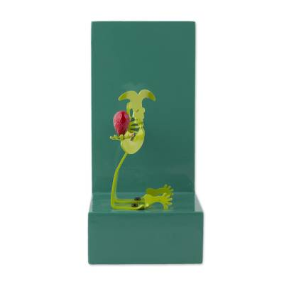 Green Aluminum Harlequins On Green Wood Bookends Literature Lover Novica