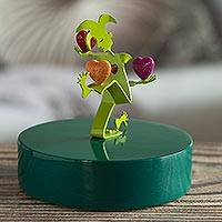 Aluminum sculpture, 'Love Juggler' - Green Aluminum Harlequin Juggling Hearts Sculpture