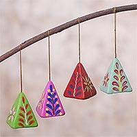 Ceramic ornaments, 'Colorful Pyramids' (set of 4) - Set of Four Ceramic Pyramid Ornaments from Peru