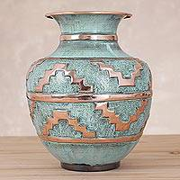 Copper and bronze decorative vase, 'Chan Chan'