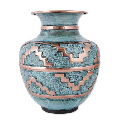 Copper and bronze decorative vase, 'Chan Chan' - Copper Vase with Motifs Inspired by Chan Chan