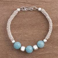 Amazonite pendant bracelet, 'Sky Blue Orbs' - Amazonite and Sterling Silver Pendant Bracelet from Peru