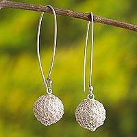 Sterling silver dangle earrings, 'Tangled Orbs' - Sterling Silver Wire Dangle Earrings from Peru