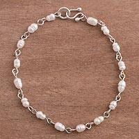 Cultured pearl link bracelet, 'Glowing Dream' - Cultured Pearl and Sterling Silver Link Bracelet from Peru