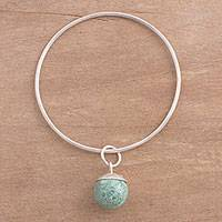 Chrysocolla charm bangle bracelet, 'Natural Orb' - Chrysocolla and Sterling Silver Charm Bracelet from Peru