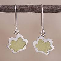 Sterling silver dangle earrings, 'Lotus Vision' - Sterling Silver and Resin Dangle Earrings from Peru