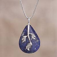 Sodalite pendant necklace, 'Stunning Leaves' - Leaf Motif Sodalite Pendant Necklace from Peru