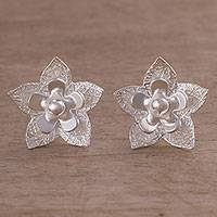Sterling silver button earrings, 'Floral Party'