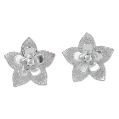 Sterling silver button earrings, 'Floral Party' - Floral Sterling Silver Button Earrings from Peru