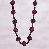 Long crocheted necklace, 'Devilish' - Red and Black Hand Crocheted Long Necklace