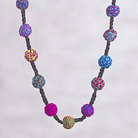 Long crocheted necklace, 'Carnaval' - Multi-Color Hand Crocheted Long Necklace