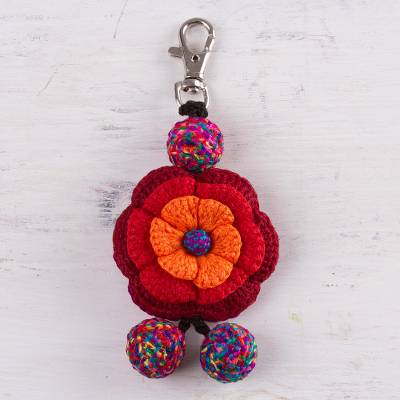 Crocheted key chain, 'Jubilant' - Hand Crocheted Multi-Color Flower Key Chain