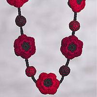 Reversible crocheted necklace, 'Floral Tango' - Red and Black Reversible Flower Hand Crocheted Necklace