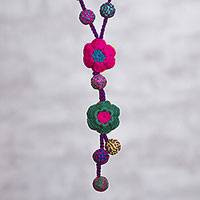 Reversible crocheted lariat necklace, 'Floral Parade' - Multi-Color Reversible Flower Hand Crocheted Lariat Necklace