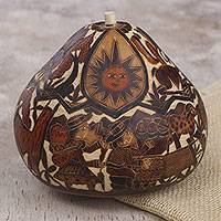 Dried mate gourd decorative box, 'Of Land and Sky' - Hand Carved Gourd Decorative Box with Andean Pastoral Scene