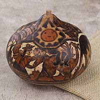 Dried mate gourd decorative box, 'Harvest in the Valley' - Hand Carved Gourd Decorative Box with Harvest Scene