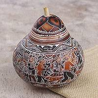 Gourd jewelry box, 'Fiesta at Huancayo' - Hand Carved Gourd Jewelry Box with Village Fiesta Scene