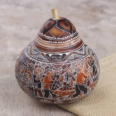 Gourd decorative box, 'Fiesta at Huancayo' - Hand Carved Gourd Decorative Box with Village Fiesta Scene