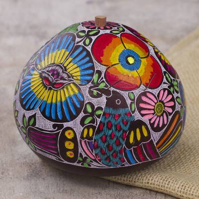 Gourd decorative box, 'Garden Song' - Hand Carved and Painted Birds Flowers Gourd Decorative Box
